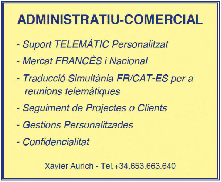 ADMINISTRATIU - COMERCIAL Xavier Aurich